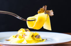 Pasta on fork with truffles. Pasta on fork.Gourmet chef plate, tagliatelli with fresh truffles.Plate of pasta with truffles.Restaurant menu dish.Italian cuisine Royalty Free Stock Photos