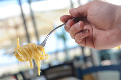 Pasta forkful Stock Images