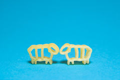 Pasta in the form of animals p on a blue background Royalty Free Stock Photography