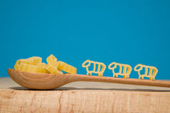 Pasta in the form of animals and a spoon on a blue background Stock Image