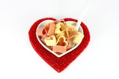 Pasta in form of hearts Royalty Free Stock Image