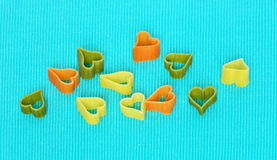 Pasta in the form of hearts Royalty Free Stock Photos