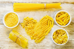 Pasta in the form of hearts Stock Photo