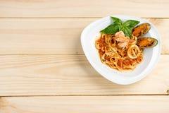 pasta för havsmat med räkaskalet Royaltyfri Foto