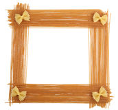 Pasta frame. Frame made from pasta isolated on white Royalty Free Stock Photo
