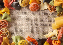 Pasta Frame. With different sorts of pasta and different colors Stock Images
