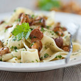 Pasta with fresh chanterelles Royalty Free Stock Images