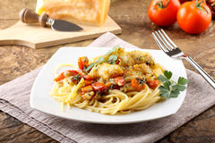 Pasta with fresh grouper fillet Royalty Free Stock Photos
