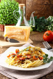 Pasta with fresh grouper fillet. On complex background Stock Images