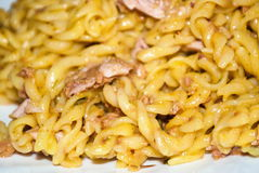 Pasta with fresh meat served in white dish Stock Image