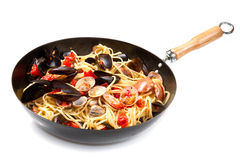 Pasta with fresh mollusk Stock Photos