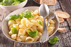 Pasta, fresh salad and bread Royalty Free Stock Photography