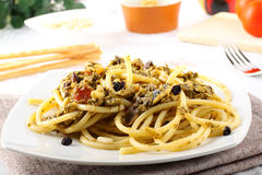 Pasta with fresh sardines and fennel. On complex background Royalty Free Stock Photos