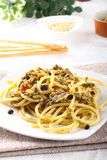 Pasta with fresh sardines and fennel. On complex background Royalty Free Stock Photography