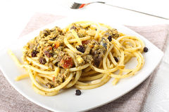 Pasta with fresh sardines and fennel Royalty Free Stock Photos