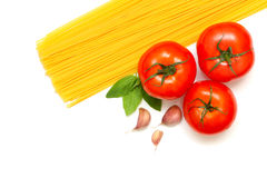 Pasta with fresh tomato and basil Stock Photo