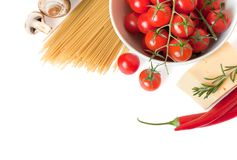 Pasta and fresh vegetables Stock Photography