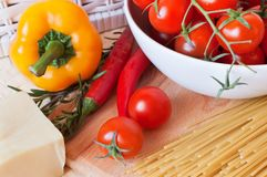 Pasta and fresh vegetables Stock Photos