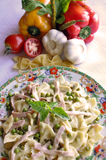 Pasta with fresh vegetables Royalty Free Stock Photography