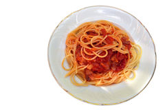 Pasta in front on white background Royalty Free Stock Image