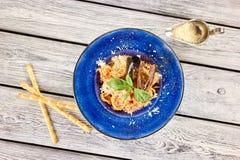 Pasta Frutti Di Mare met bijgerecht, hoogste mening royalty-vrije stock fotografie