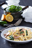 Pasta fusilli with baked salmon and spinach Royalty Free Stock Photos