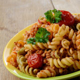 Pasta fusilli with bolognese Stock Image