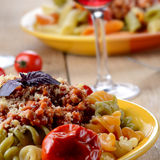 Pasta fusilli with bolognese Stock Photography