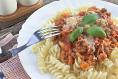 Pasta Fusilli pasta with bolognese sauce Stock Images