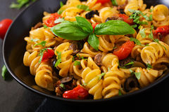 Pasta Fusilli with tomatoes, beef and basil Royalty Free Stock Image