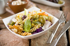 Pasta Fusilli with Vegetables Stock Photo