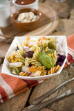 Pasta Fusilli with Vegetables Stock Photography