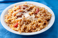 Pasta fusilli with a vegetarian tomato sauce Stock Photo