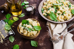 Pasta galletti with peas Stock Images