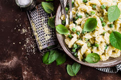 Pasta galletti with peas Royalty Free Stock Photography