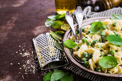 Pasta galletti with peas Royalty Free Stock Image