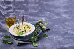Pasta galletti with peas Stock Photo