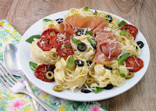Pasta with gammon Royalty Free Stock Images
