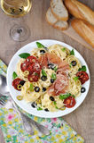 Pasta with gammon Stock Images