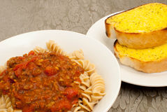 Pasta with Garlic Bread stock photography