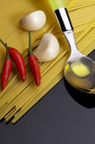 Pasta garlic extra virgin olive oil and  chili Royalty Free Stock Images