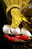 Pasta garlic extra virgin olive oil and red chili Royalty Free Stock Photography