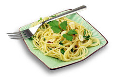 Pasta with Garlic, Oil, Chilli Stock Images