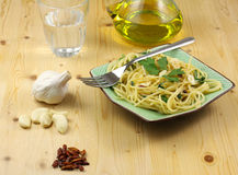 Pasta with Garlic, Oil, Chilli Royalty Free Stock Photography