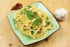 Pasta with Garlic, Oil, Chilli. Hot Pasta with Garlic, Oil and Chilli Stock Photo