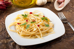 Pasta with garlic and olive oil Royalty Free Stock Image