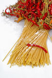 Pasta, garlic, olive oil and chilli Royalty Free Stock Images