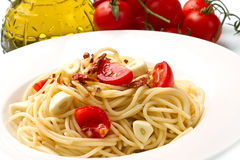 Pasta garlic olive oil and red chili pepper Royalty Free Stock Image