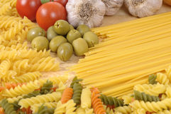 Selection of different Pasta with garlic and olives Stock Images