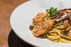 Pasta with germany sausage. Stir-fried pasta with germany sausage Royalty Free Stock Photo